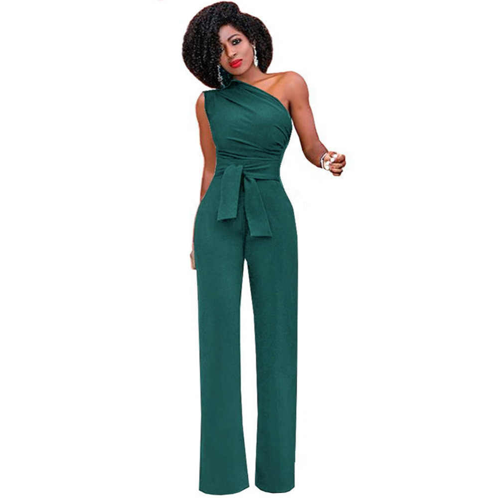 4a7d61015d39 Summer Fashion Women One Shoulder Jumpsuit Sleeveless Wide Leg High Waist  Solid Rompers Overall Casual OL