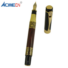 ACMECN Luxury Fountain Pen with Wooden Pattern Plating Gold Trim 0.5mm Writing Points Carved Cool Metal Accents for Mens Gifts