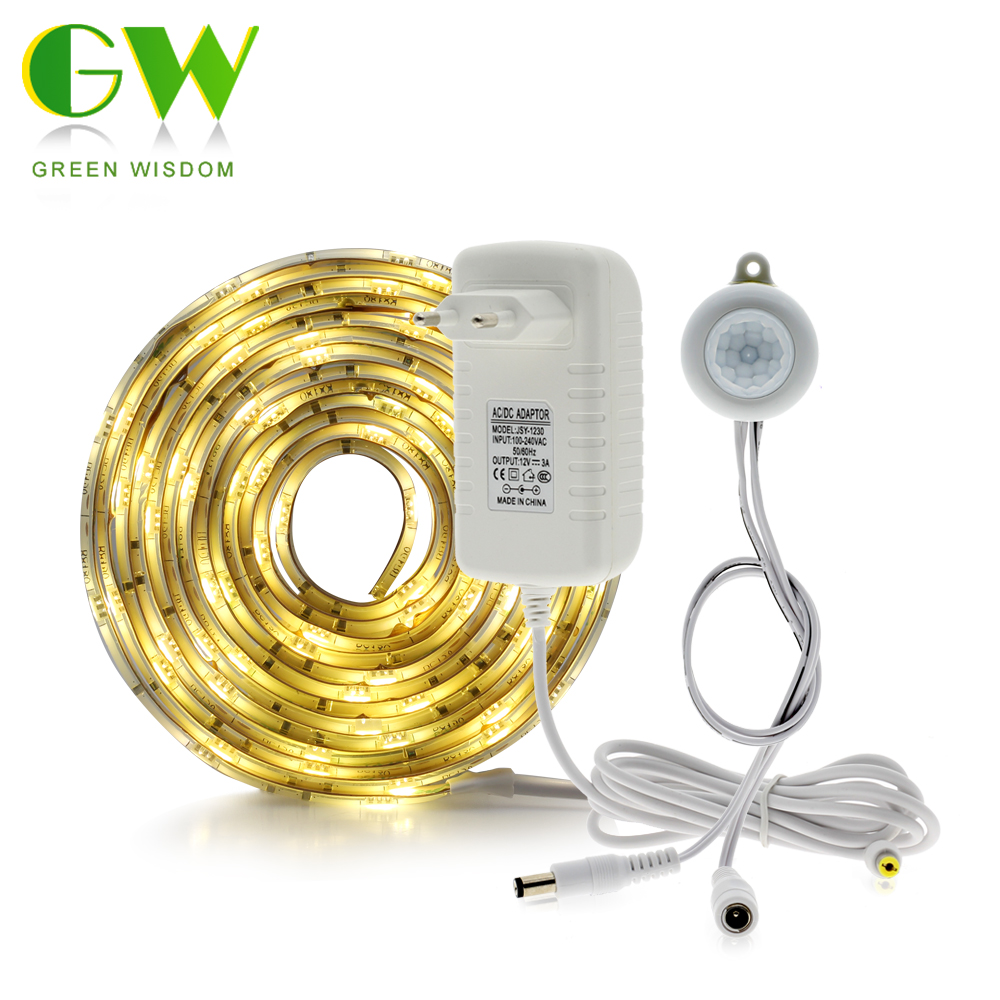 Pir Motion Sensor LED Bande Imperméable À L'eau 5050 30 LEDs/m Blanc Chaud + Capteur De Lumière Intelligente Contrôle Chambre Éclairage