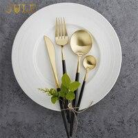 24ชิ้นสีดำชุดช้อนส้อมชั้นอาหารปลอดภัย18/10บนโต๊ะอาหารสแตนเลสมีดส้อมSพูนตะวันตกหรูหราอาหารเ...
