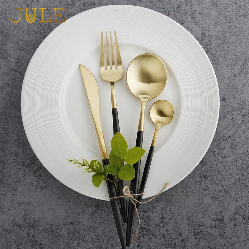 24dílné černé příbory set nejvyšší třídy bezpečné pro potraviny 18/10 z nerezové oceli Nádobí na nože vidlička S poon Western Luxury Sady stolního nádobí