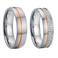 luxury cubic zirconia rose gold color titanium steel wedding rings sets for men and women alliances