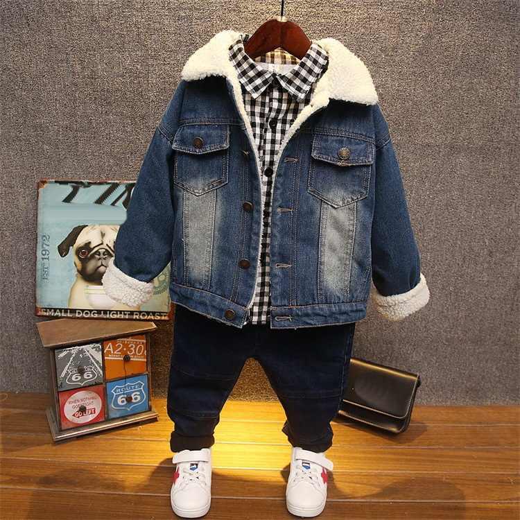 7d55598d Detail Feedback Questions about 2018 Winter Boys Plush denim jacket ...