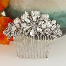 Bella perlas simuladas pequeño peine del pelo nupcial celada de pelo pieza floral accesorios de la boda de dama de honor de cristal austriaco