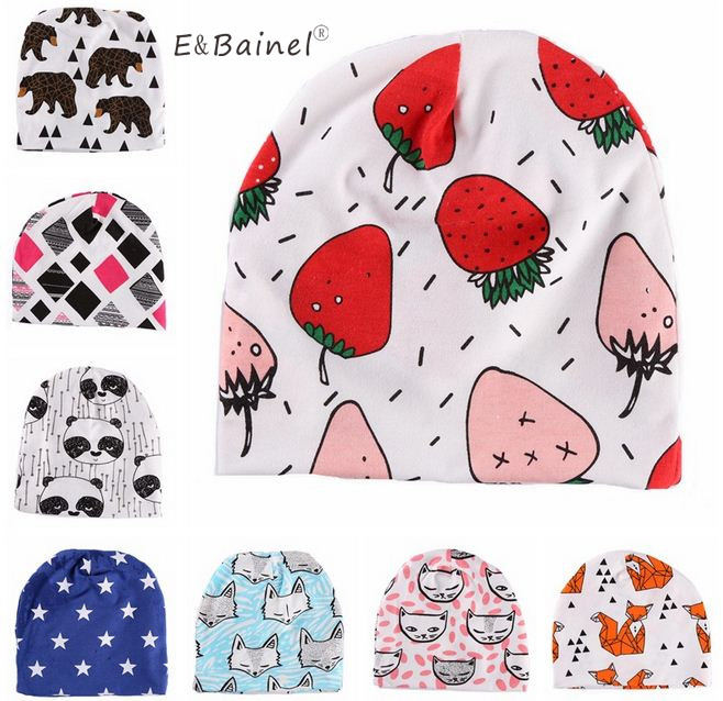 b27a9296a18 E Bainel Baby Hat Cotton Print Baby Beanie Fruit Strawberry Baby Girls Hats  Spring Autumn Baby Caps