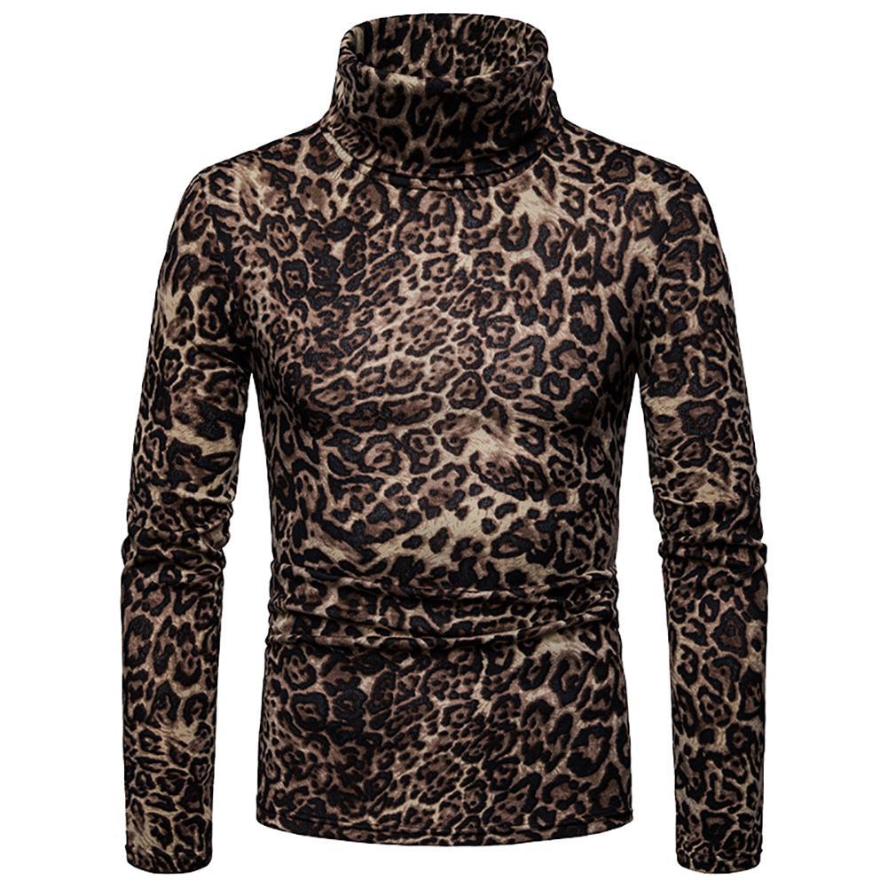 Winter High Neck Sweater Leopard Print Men Long Sleeve Warm Autumn Sweater Jumper