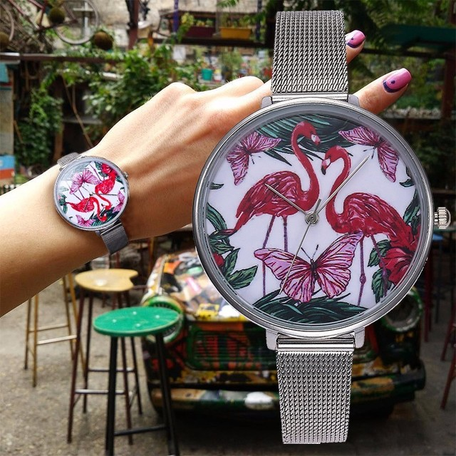 Dropshipping Women Silver Mesh Flamingo Watch Luxury Fashion Stainless Steel Qua