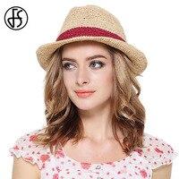 FS Brytyjskie Kapelusz Style Lato Panama Rafia Słomkowe Kapelusze Dla Kobiet mężczyźni Unisex Szerokim Rondem Czerwony Niebieski Sun Kapelusze Rocznika Plaży Jazz kapelusz