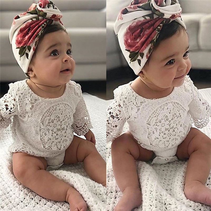 Newborn Baby Girls White Lace Floral Princess Romper Bodysuit Jumpsuit Outfit