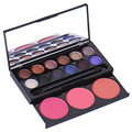 12 cores de sombra + 3 cores corar brilhante colorido maquiagem beleza corretivo pó paleta de blush com pincel mirror cosméticos conjuntos