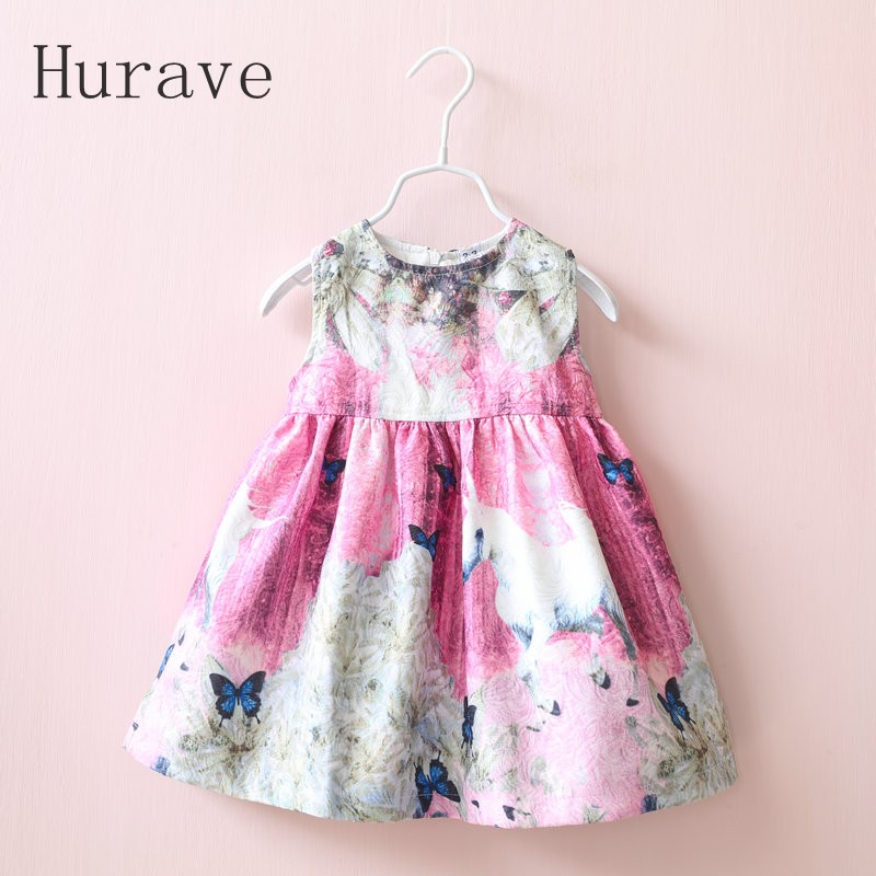 Hurave Girl Dress new sleeveless dobby children clothing cartoon horse dresses kids dress girls clothes Infant