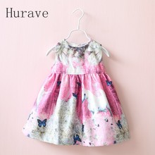Hurave Girl Dress new sleeveless dobby children clothing cartoon horse dresses kids dress girls clothes Infant dress vestidos
