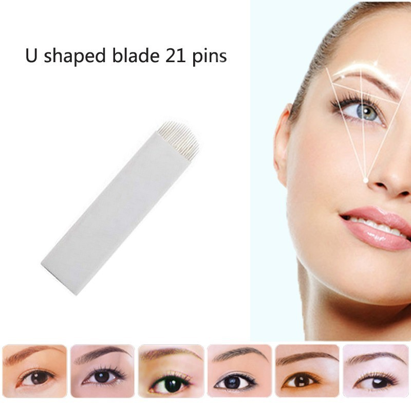 Steady 21 U Shape Pins Flat Blades For Professional Permanent Makeup Eyebrow Pen Manual Tattoo Needles Supply 50 Pcs/lot Beauty & Health