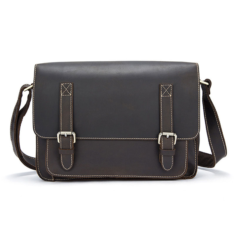 Fashion personality Soft surface genuine Leather men shoulder bags retro crazy leather magnetic buckle male Messenger bags