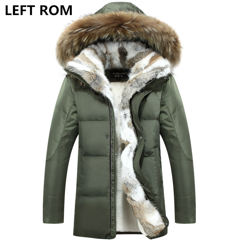 LEFT ROM Large siz S-5XL men thickening warm winter Down jacket/male slim fur in from the cold warm long cotton-padded clothes