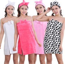 Cleara! Sleepwear nightwear Soft Coral Velvet Flannel Robe Sexy Bow Wrapped Chest Home Bath Towel Lovely Night-robe for women(China)