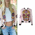 Skeleton Pattern Printing Jackets Punk Style Stand Collar Long Sleeve Short Autumn Bomber Jackets Coats Chaquetas Mujer Outwear