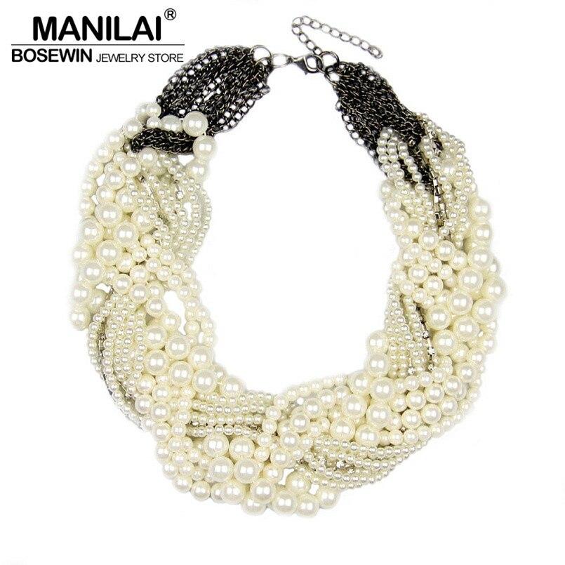MANILAI Femmes À La Main Chunky Imitation collier en perles De Mode Strass Collier collier ras du cou Déclaration Bijoux Bijoux