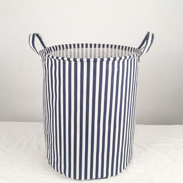 Stripe Waterproof Laundry Hamper Clothes Storage Baskets Home Decoration Cloth Barrel Kids Toy Organizer