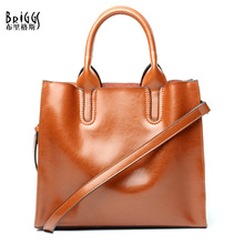 BRIGGS New 2017 Women Casual Tote Genuine Leather Women Bags Luxury Brand Shoulder Bag High Quality Women Handbag Bolsa Feminina pyaterochka new 2018 genuine leather handbag for women high quality luxury shoulder bags ladies business satchels brown tote bag