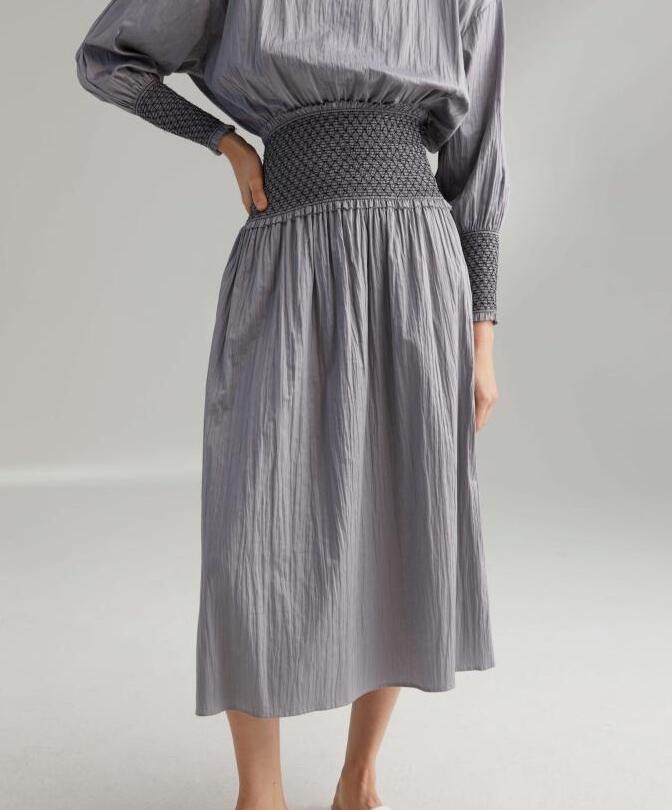 Woman Safara midi skirt cashew mid waist smocking Waist raw edges Fashion High Waist Cotton SKIRTS
