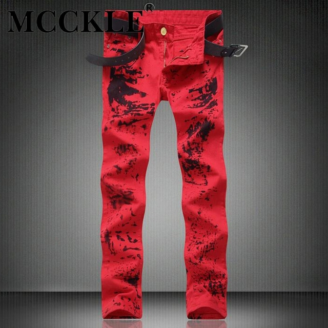 Fashion Mens Red Flower Printed Jeans Pants Slim Fit Painted Denim Joggers For Male Club Wear Straight Jean Trousers Q2688