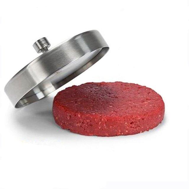 Stainless steel stuffed hamburger press and burger maker