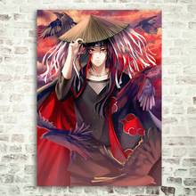 Anime Naruto Muur Poster, Akatsuki Itachi Uchiha Wall Art Prints, Thuis Room Bar Muur Decor Zijde Foto(China)