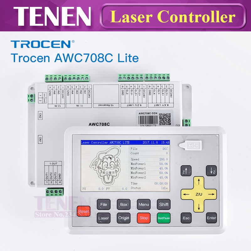 Trocen Anywells AWC 708C Lite CO2 Laser DSP Controller Replace AWC608 Co2 Laser Mainboard For Laser