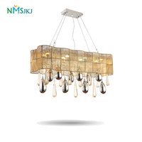 Vintage Chandelier European luxury modern Lighting LED K9 rectangular Modern crystal chandelier for dinning room Lights Lamp