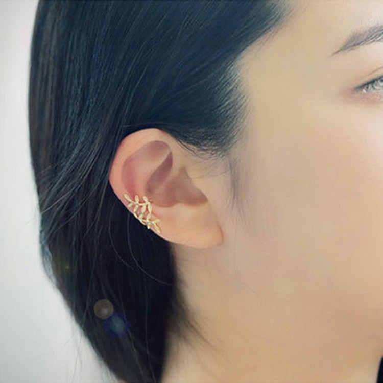 Moda złoty liść EarCuff nausznice dla kobiet dziewczyna gwiazdy Rhinestone wspinaczka elegancka Piercing chrząstka bez otworu klips do ucha
