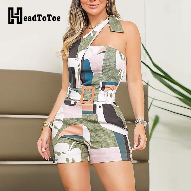 Headtotoe Shoulder Knotted Detail Abstract Print Rompers Women Jumpsuit Summer Sexy
