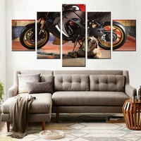 Shar Pei And Motorcycle HD Pictures Print On Canvas Oil Painting Belldog Animal Wall Art Fashion