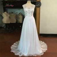 Dream Angel Vestido De Noiva Boho Chiffon Beach Wedding Dresses 2018 Sexy Illusion V Neck Pearls Crystal Bridal Gown Plus Size