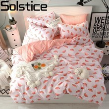 Solstice Pink Cartoon Watermelon Comforter Bedding Sets Duvet Cover Bed Flat Sheet PillowCases Set Comfort Deluxe Bedlinings Kit