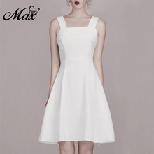 купить Max Spri 2019 New Fashion Women Square Neck Straps Sleeveless Back Bow Details Office Lady Solid White A-Line Knee-Length Dress онлайн