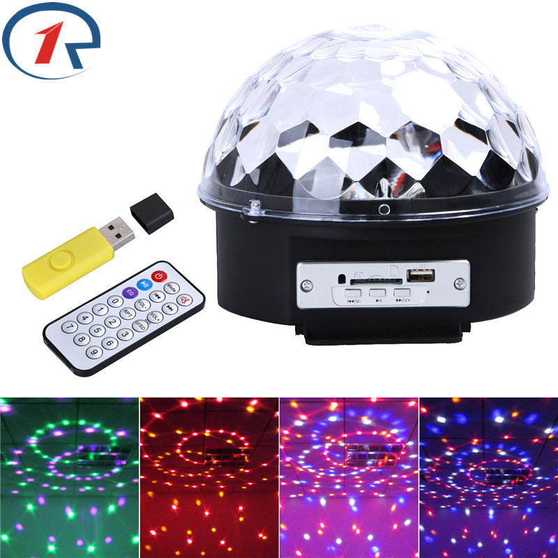 ZjRight Crystal Magic Ball RGB 6W*3 LED USB music Remote control Stage Light Disco home Party gift DJ Lighting strobe table lamp 30cm color changing remote control party pool magic waterproof rgb night lighting lamp globe