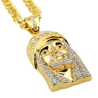 Long Chain Punk Wind With Strong Personality Right Of Male Pendant Necklace Pendant Jesus Face Bling