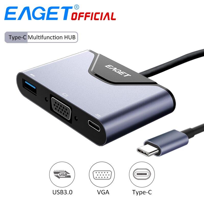 EAGET USB C HUB Type C To USB VGA Type C OTG Converter