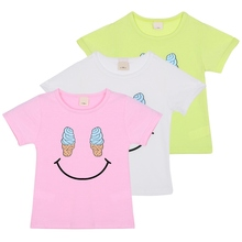 2-7 Y Baby Cozy Ice Cream Smile Face print shirts clothes Children Boys Girls Kids Short Sleeve T-shirts top