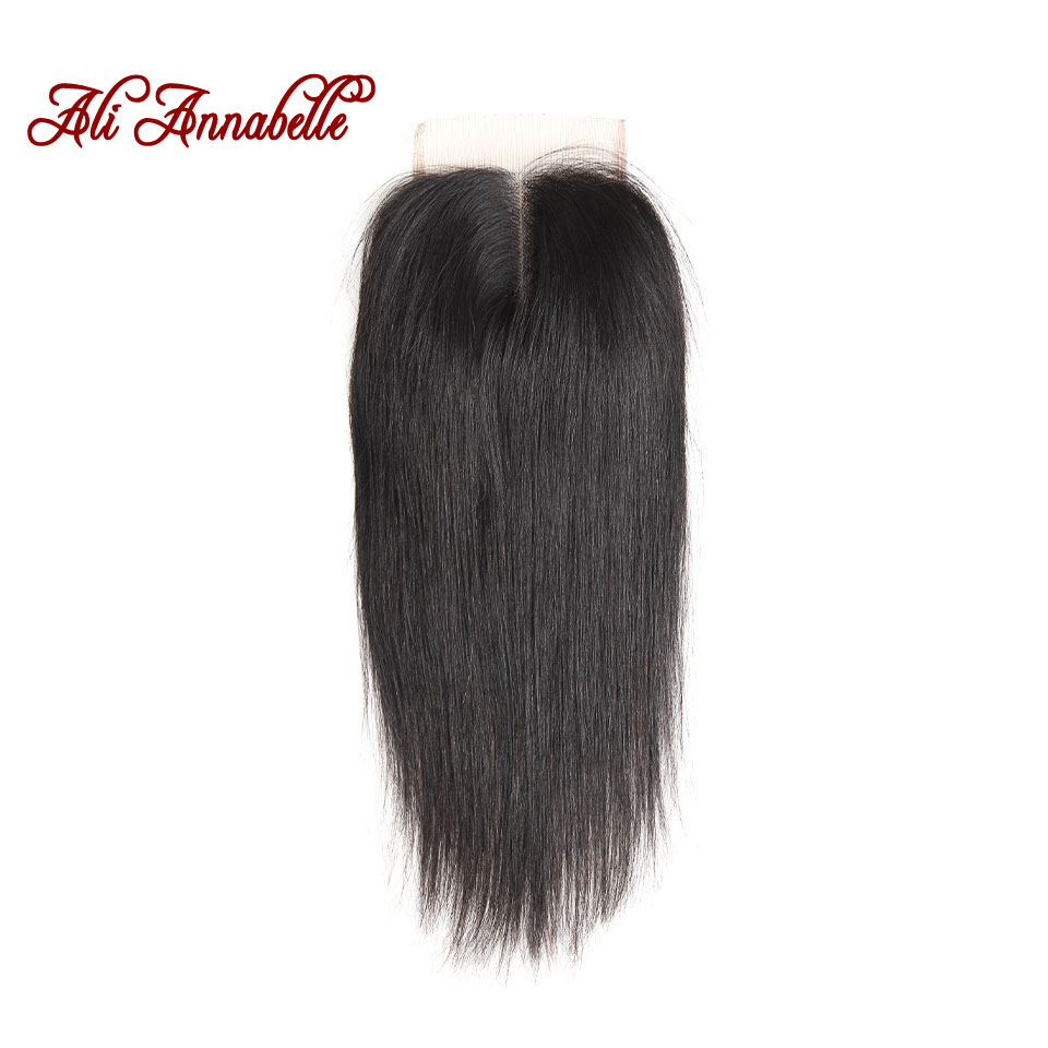 ALI ANNABELLE HAIR Brazilian Straight Lace Closure Middle Part Natural Color 4*4 Brazilian Remy Hair Straight Closure 10 to 22""