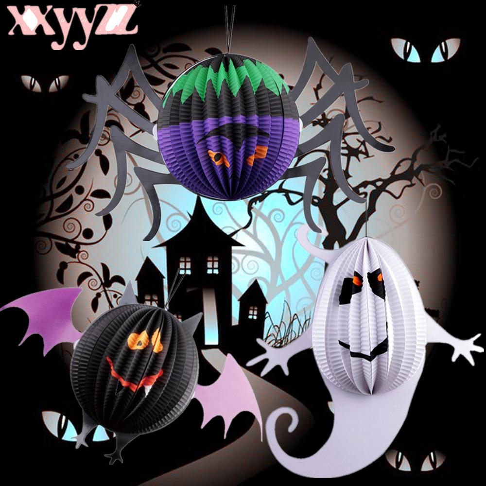 XXYYZZ 1 Pumpkin Ghost Spider Bat Hanging Paper Lanterns