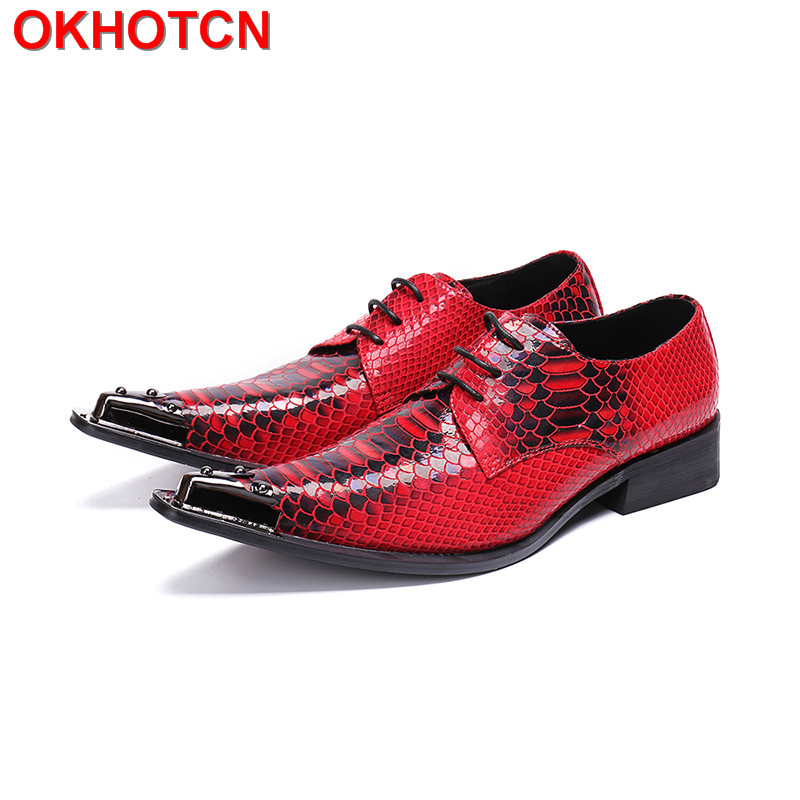Print Red Men Shoes Leather Handmade Wedding Dress Oxford Shoes For Men Metal Rivets Pointed Toe Lace Up Spring Autumn Man Shoes флеш диск a data 8gb classic c008 белый ac008 8g rwe