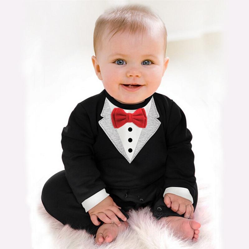 Bibihou 2017 New Newborn Baby Rompers Clothing Children Boys Clothes Tie Gentleman Bow Leisure Toddler One-pieces Jumpsuit Bebe