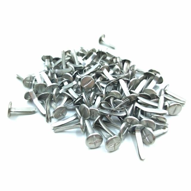 "100pcs 8mm ""+ -"" Slotted Phillips Head Screw Brads Silver Scrapbooking Nails Metal Embellishment Cross Album Paper Craft Tool"