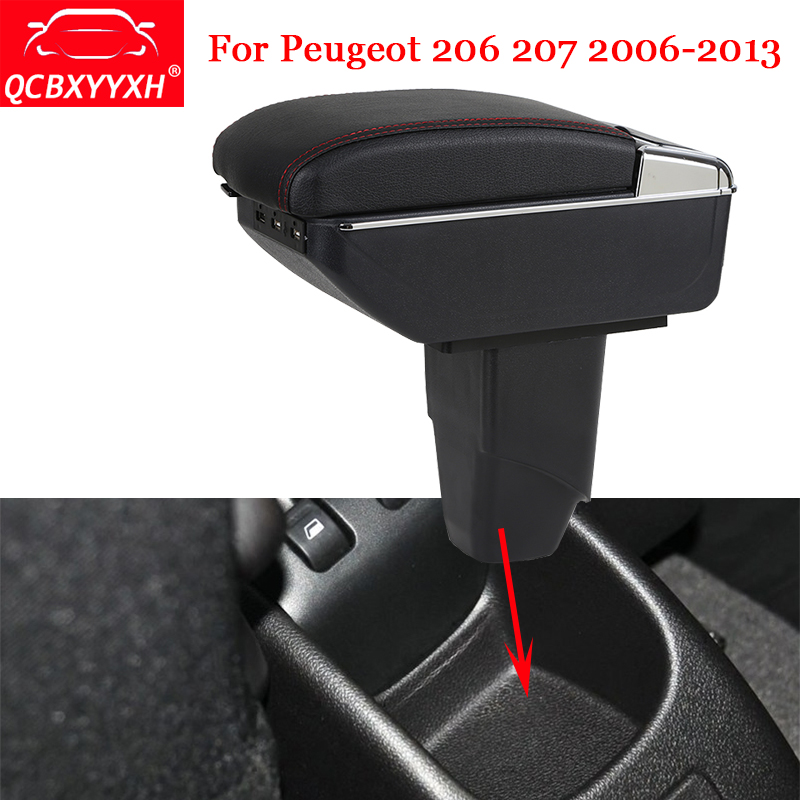 QCBXYYXH Car-Styling ABS Car Armrest Box Center Console Storage Box Holder Case Auto Accessories For Peugeot 206 207 2006-2013 black interior storage box armrest center console for honda fit jazz 2014 2015