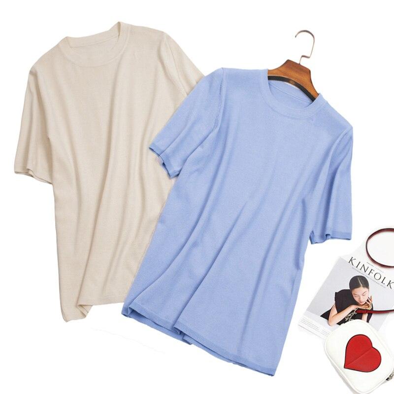 125da498f Chemises bleu Mince De Hauts En Glace Rond Blanches Col D'été Femmes ...