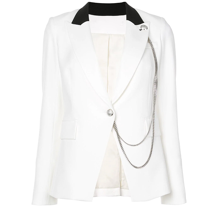 HIGH QUALITY Newest 2019 Designer Blazer Women's Single Buttons Color Block Chain Embellished Blazer Jacket