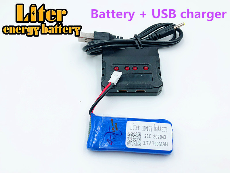 <font><b>3.7V</b></font> <font><b>700mAh</b></font> 802042 <font><b>Lipo</b></font> <font><b>Battery</b></font> with USB charger JJRC H37 H31 Eachine E50 RC drone parts quadcopter image