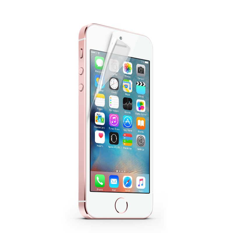 Welselyクリアフロントスクリーンプロテクター裏表紙保護ペット柔らかいフィルム用iphone 5 5 s seシールドecran mobilephoneにアクセサリー